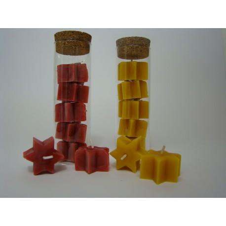 Sternenteelichter 5 Stück im Glas in rot oder gelb